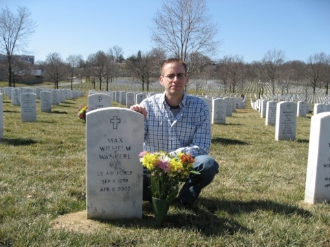 Isaac Wankerl at Max Wankerl's grave in Arlington National Cemetery